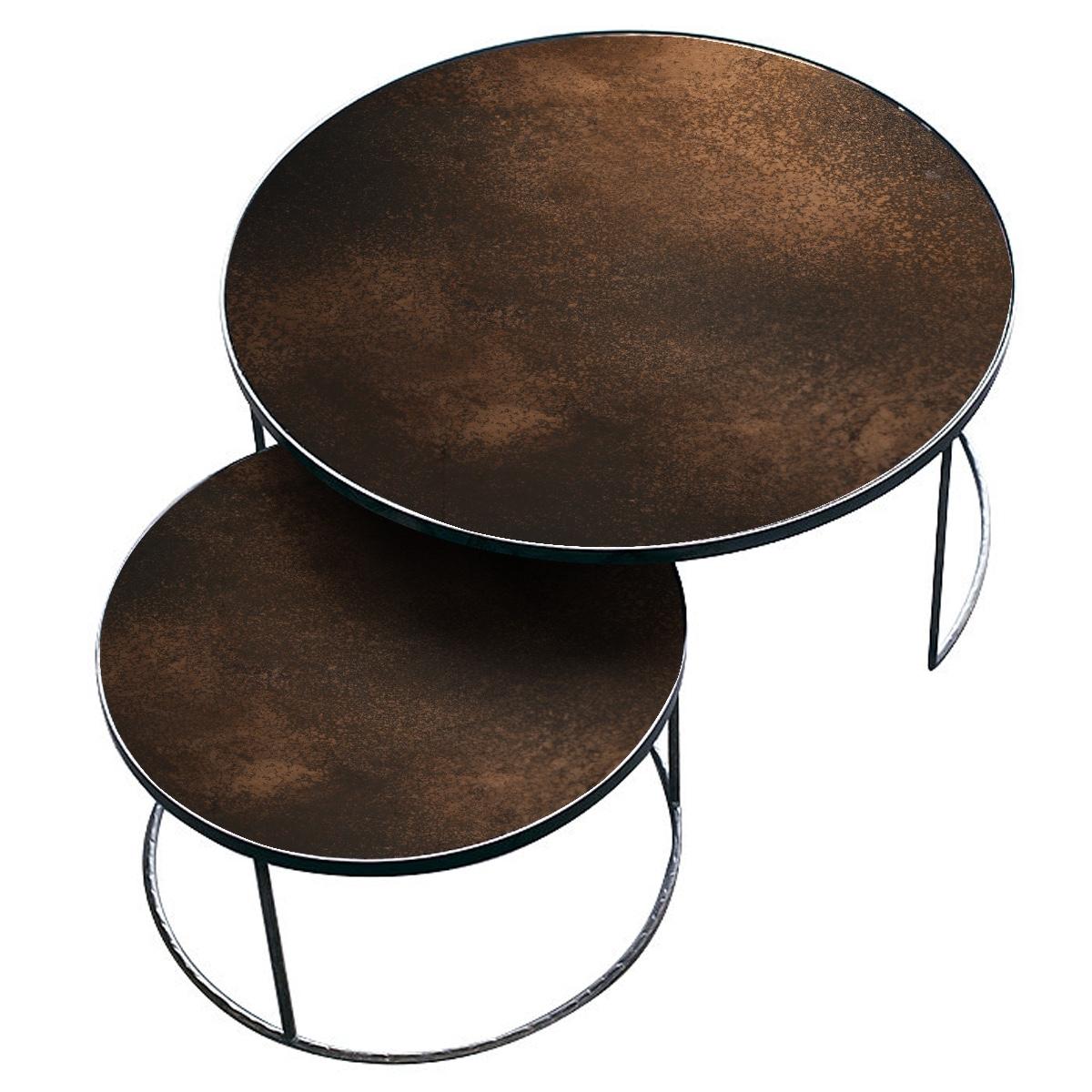 Ronde Salontafels Set Met Aged Bronze Spiegelblad Small