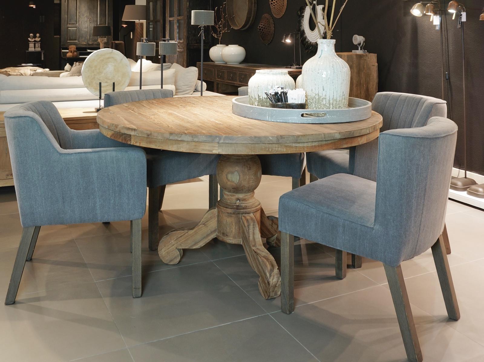 Ronde tafel van teakhout met kloosterpoot tafels collectie